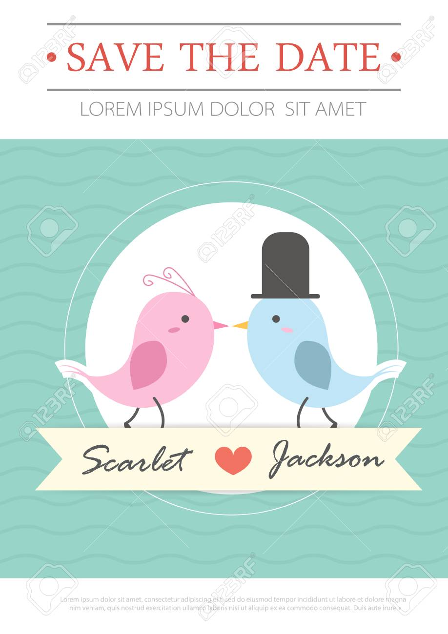 Customize beautifully animated gifs for save. Wedding Invitation Card Template Vector Illustration Wedding Invitation Card Editable With Background Chevron Font Type Save The Date Bird Cartoon Set Royalty Free Cliparts Vectors And Stock Illustration Image 92950670