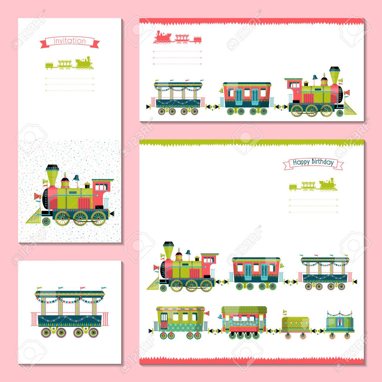 4 universal cards with toy train template birthday anniversary royalty free cliparts vectors and stock illustration image 47493614