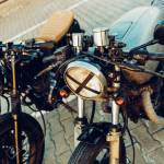 Two Vintage Custom Motorcycle Cafe Racer Motorbike One With Grill Stock Photo Picture And Royalty Free Image Image 123667745