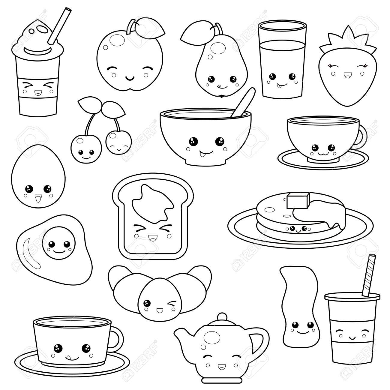 nourriture et boissons de petit dejeuner jeu d icones vectorielles mignon personnages de dessins animes mignons conception pour livre de coloriage