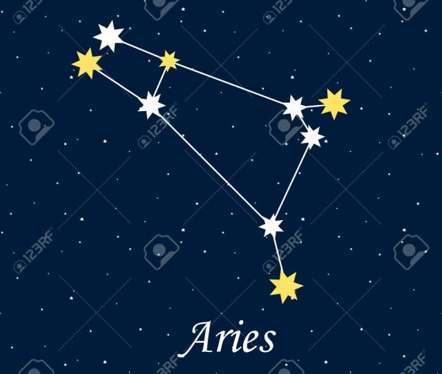 Constellation Aries Zodiac Horoscope Astrology Stars Night Vector Illustration Stock Vector