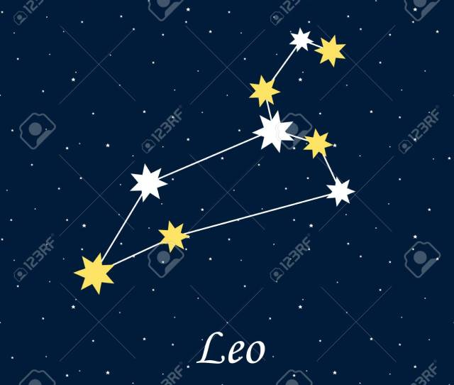 Constellation Leo Zodiac Horoscope Astrology Stars Night Vector Illustration Stock Vector