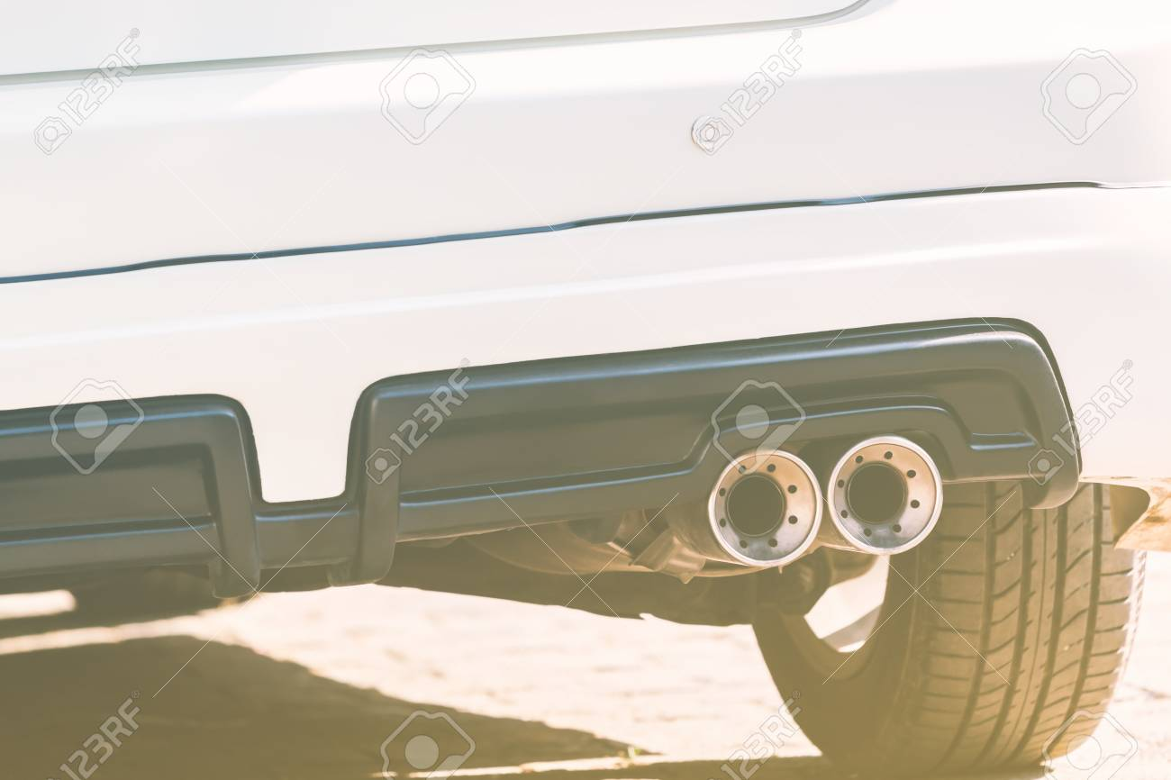 close up of exhaust pipe of a white car color filter style stock photo picture and royalty free image image 41616126