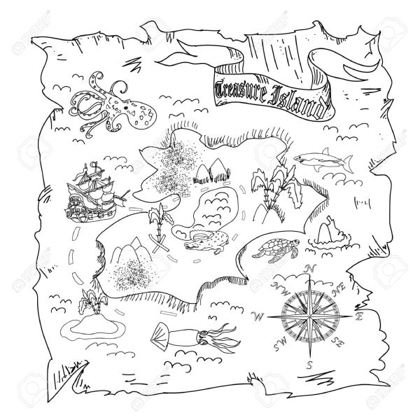 treasure map coloring pages # 6