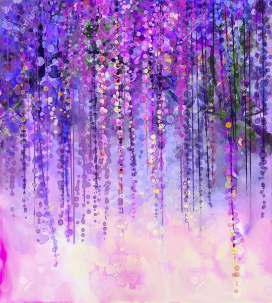 Abstract Violet  Red And Yellow Color Flowers  Watercolor Painting     Abstract violet  red and yellow color flowers  Watercolor painting  Spring  purple flowers Wisteria