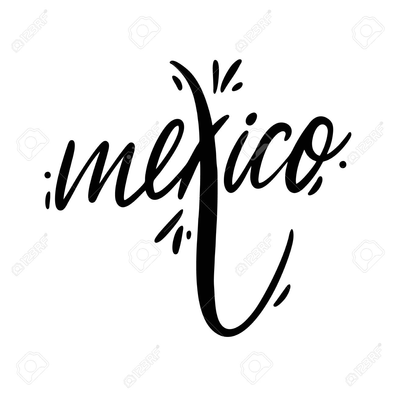 Mexico Name Hand Drawn Vector Lettering Isolated On White Background