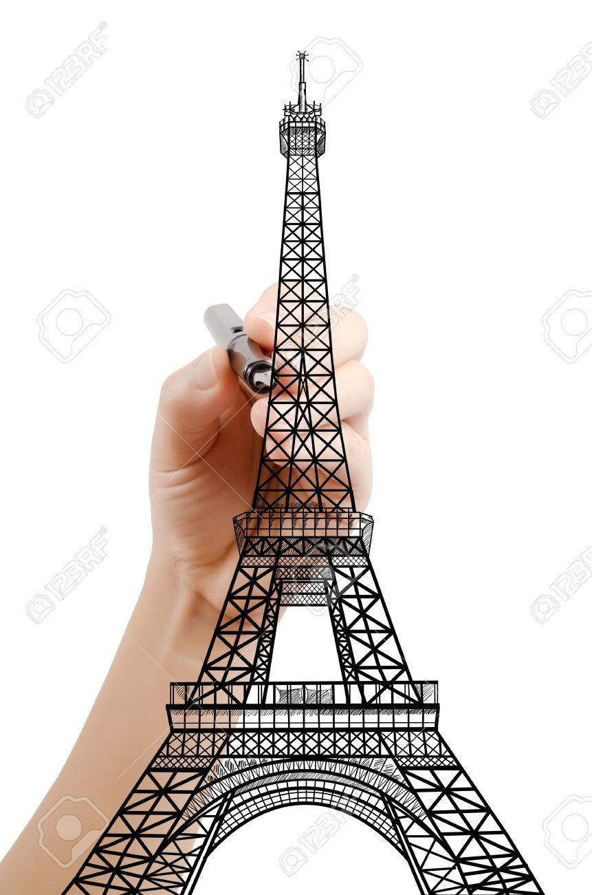 Hand Drawing Eiffel Tower Line In Paris For Construction Stock Photo Picture And Royalty Free Image Image 32785509