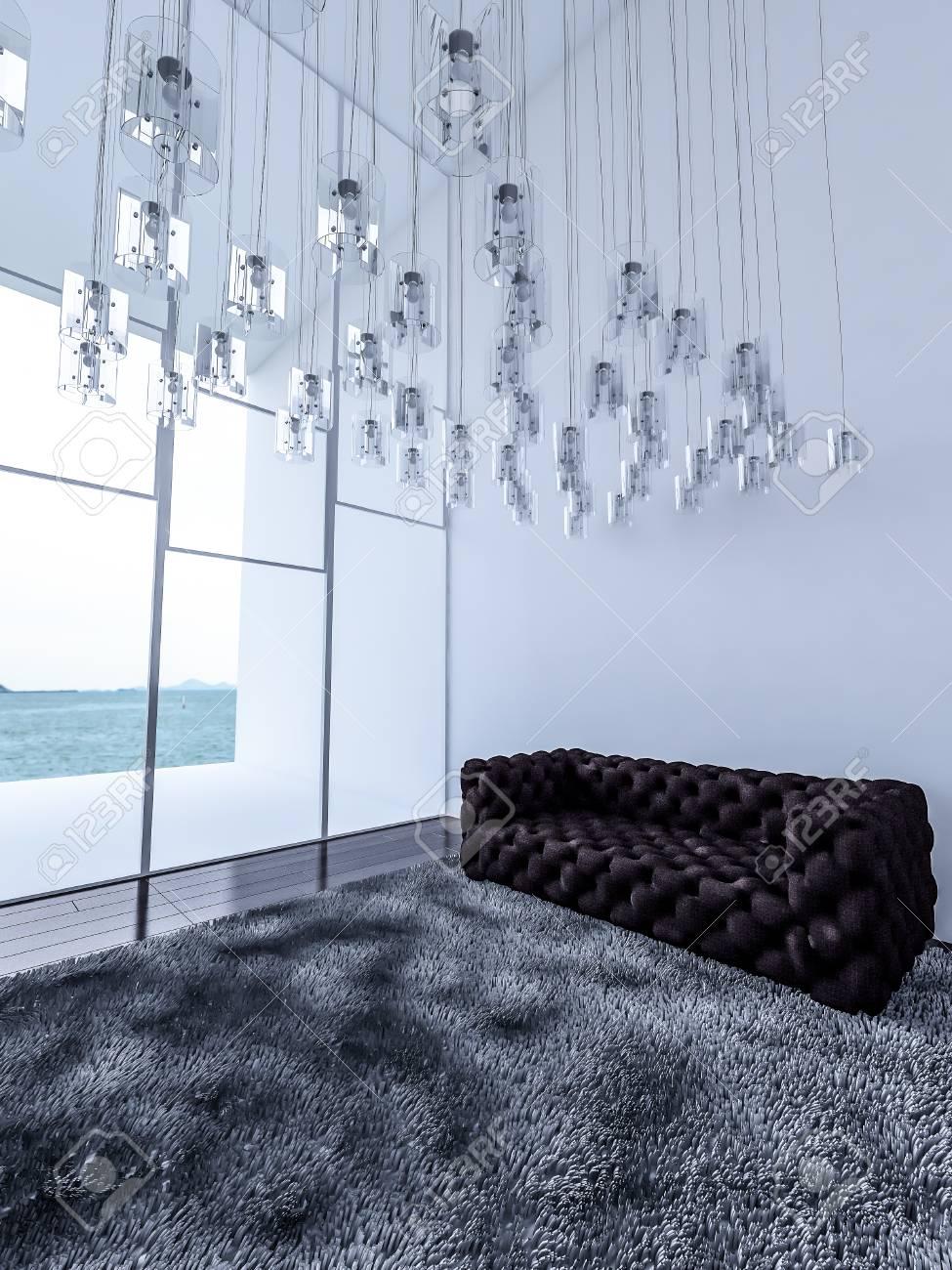 3ds rendus interieur blanc haut plafond salon qui ont beaucoup de lampes haged de plafond