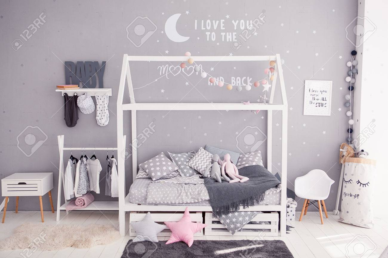 Cozy Childrens Bedroom In Scandinavian Style With Diy Accessories Stock Photo Picture And Royalty Free Image Image 81555328