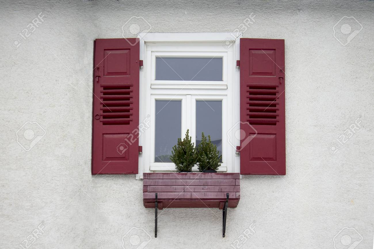 Old Ancient Wooden Window With Blinds Or Shutters Scenic Original