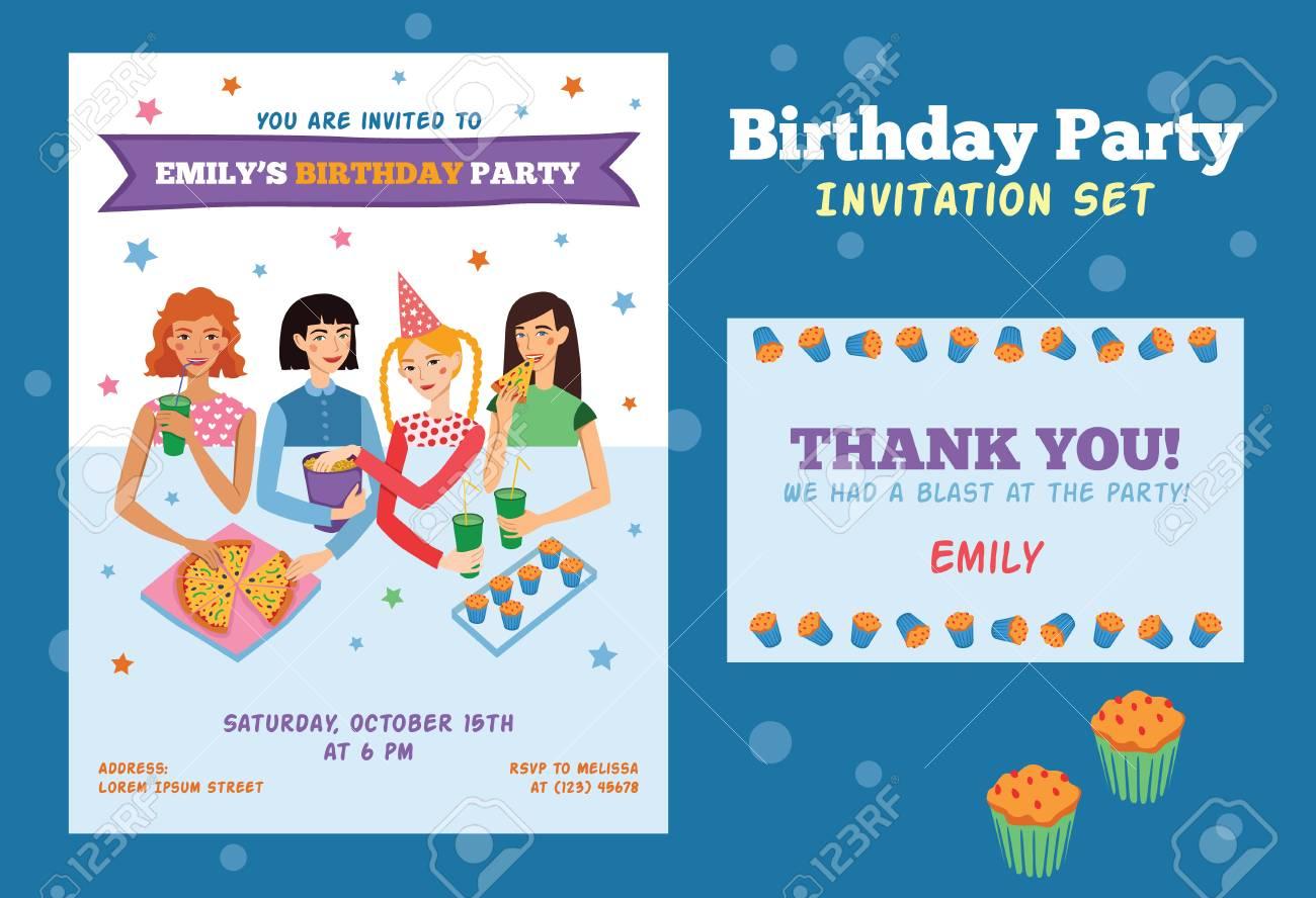 ensemble d invitation de vecteur et carte de remerciement pour la fete d anniversaire de jeunes filles avec quatre jolis amis celebrant parfait pour