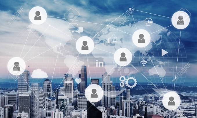 Social Networking Service On City Background Stock Photo Picture And Royalty Free Image Image 98875926