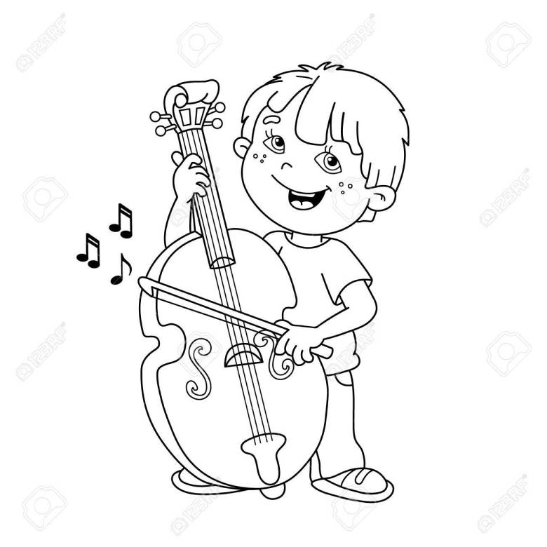 coloring page outline of cartoon boy playing the cello. musical