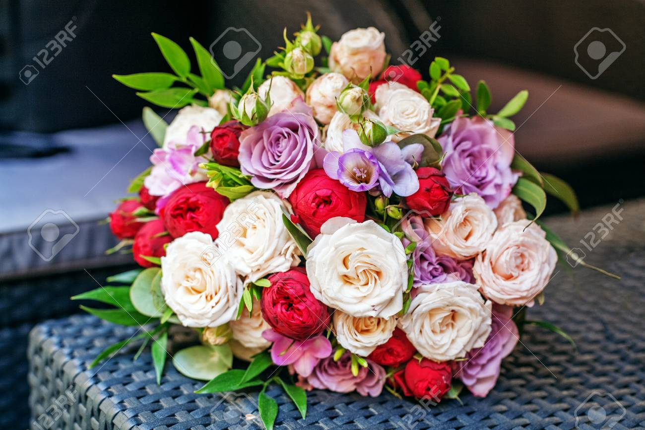 Beautiful Flower Bouquet  Romantic Meeting  The Concept Of Marriage     Beautiful flower bouquet  Romantic meeting  The concept of marriage and  love  Stock Photo