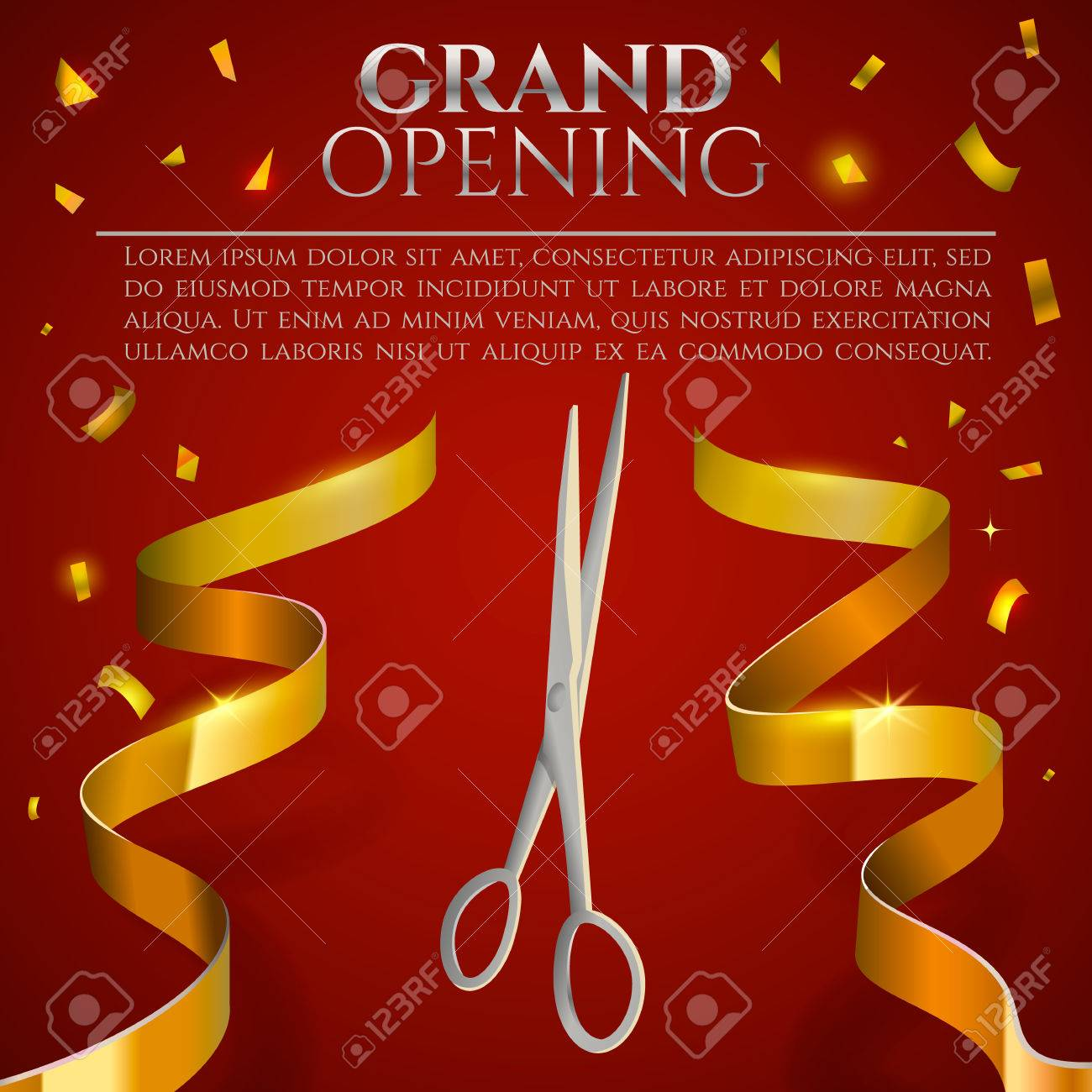 grand opening invitation card ribbon cutting ceremony banner