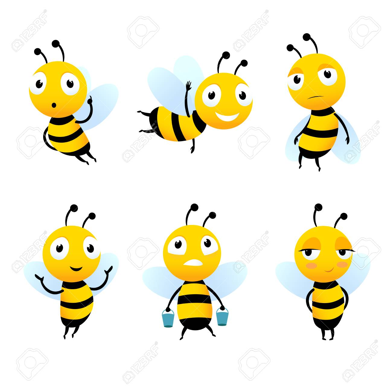 Various Cartoon Characters Of Bees With Honey Bee Cartoon Insect Royalty Free Cliparts Vectors And Stock Illustration Image 112002766