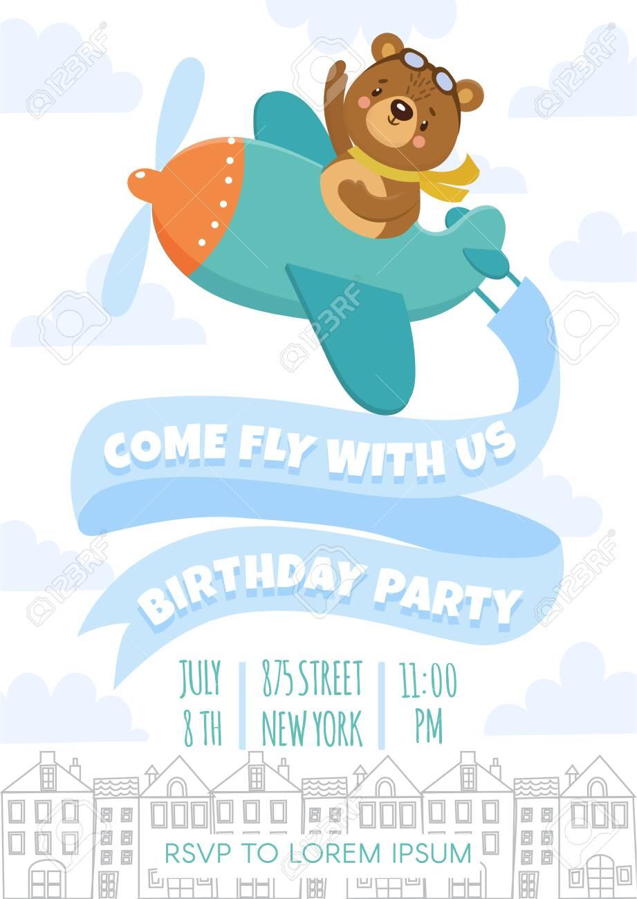 kids birthday invitation with funny bear cute animal flying