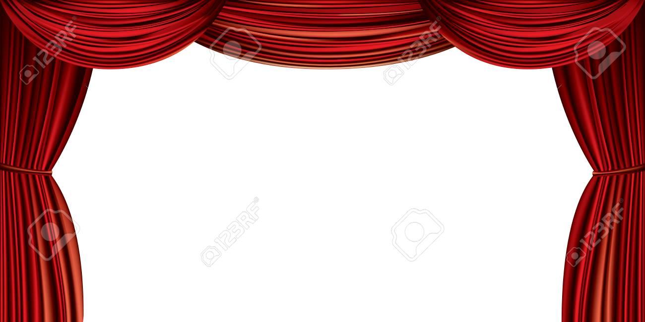 grand rideau rouge isole sur fond blanc