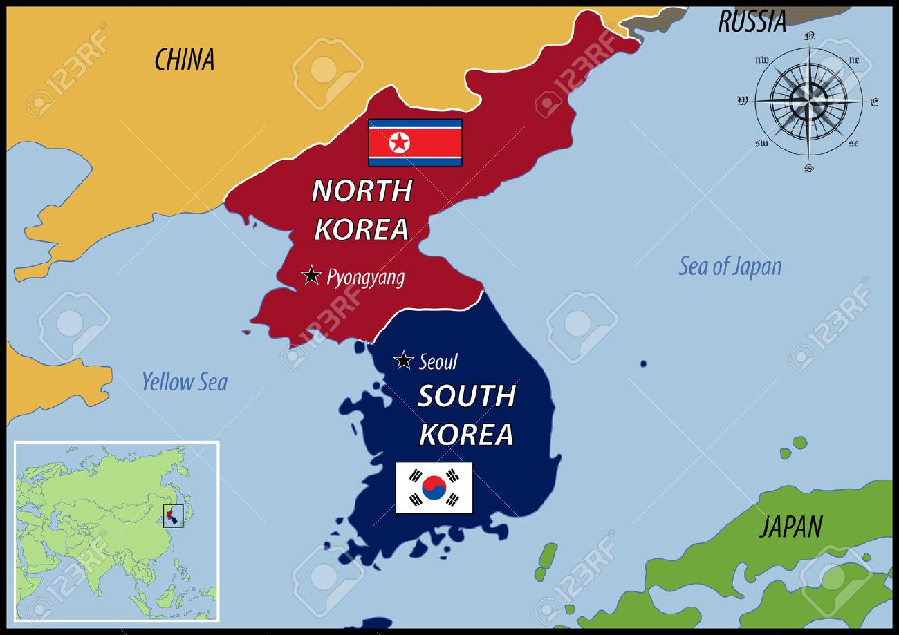 Image result for IMAGE OF MAP OF N KOREA AND S KOREA