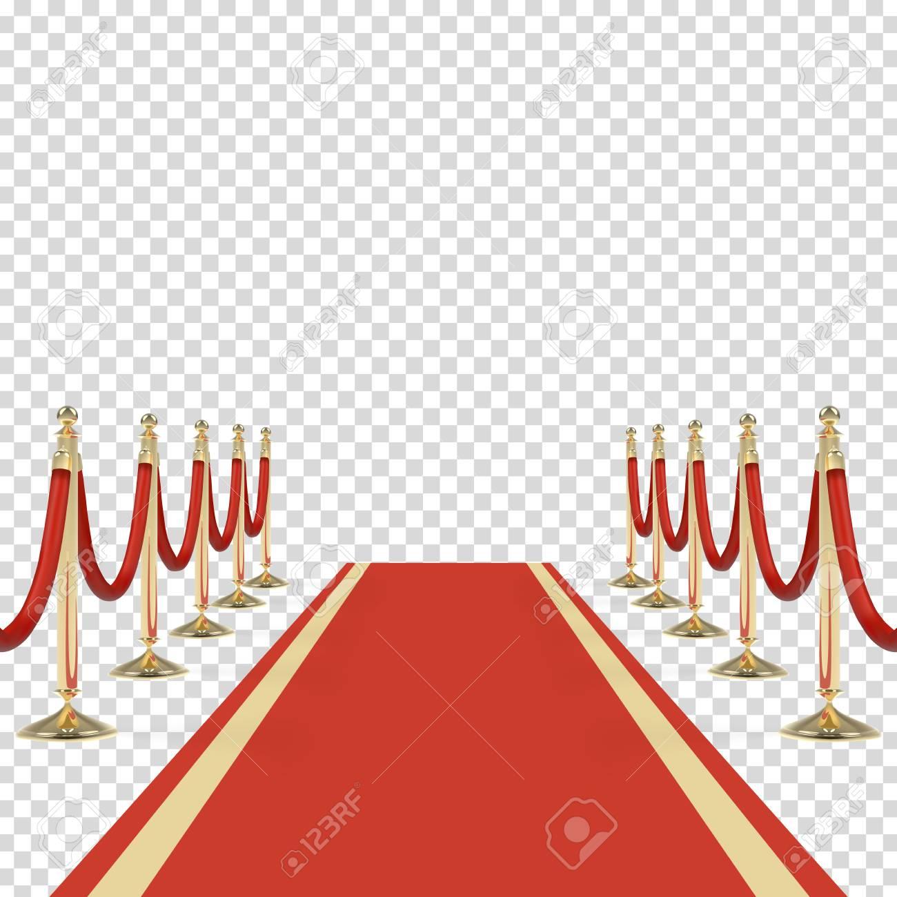 tapis rouge avec des cordes rouges sur des chandeliers d or evenement exclusif premiere de film gala ceremonie concept de recompenses