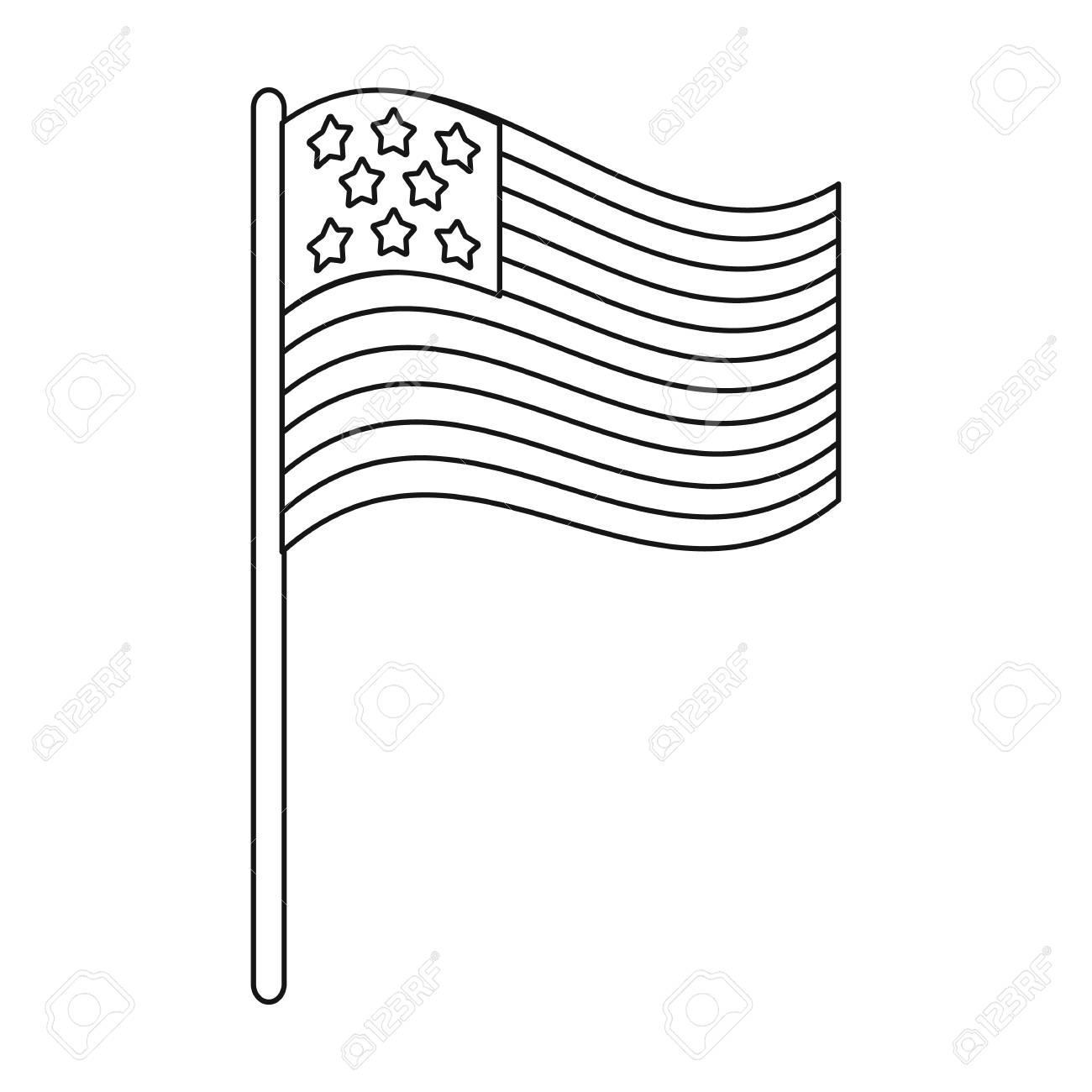 American Flag Icon In Outline Style Isolated On White Background Royalty Free Cliparts Vectors And Stock Illustration Image 68626415