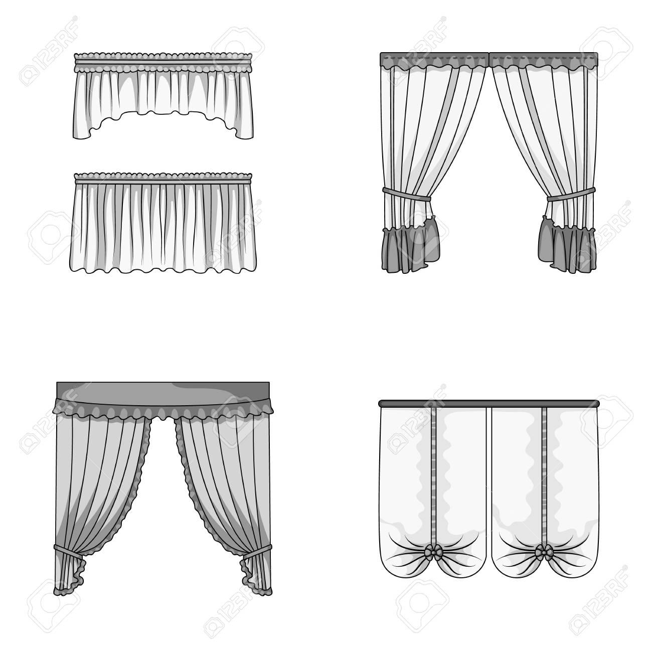 differents types de rideaux de fenetre rideaux ensemble icones de la collection dans le style monochrome vecteur symbole stock illustration web