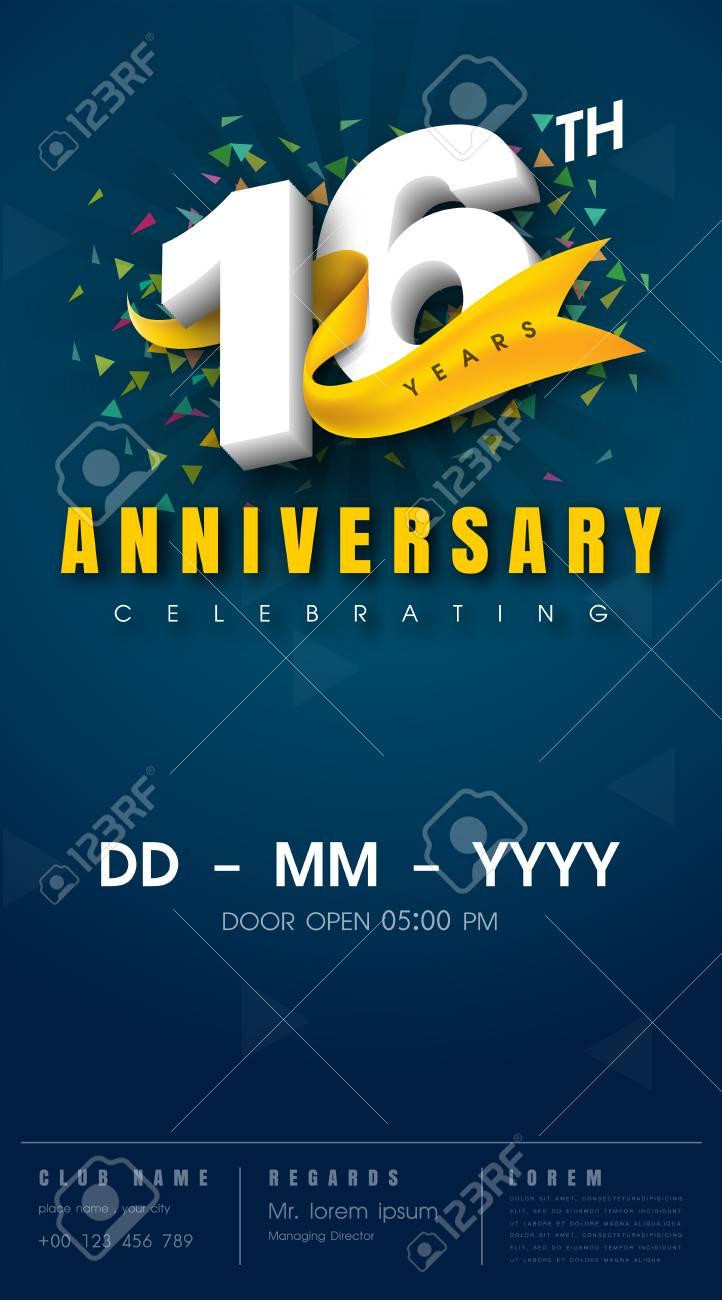 16 ans de carte d invitation d anniversaire conception de modele de celebration 16eme anniversaire modernes elements de design fond bleu fonce