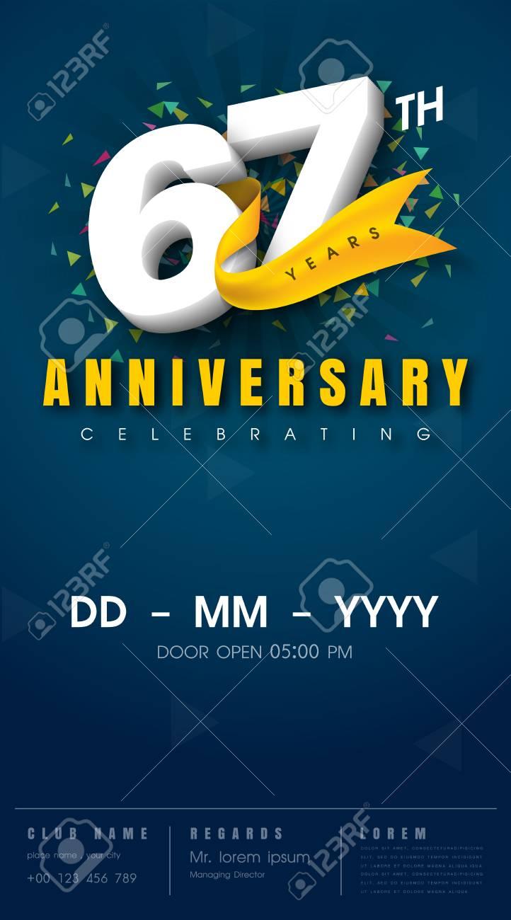 carte d invitation anniversaire 67 ans modele de celebration elements de design moderne 67e anniversaire fond bleu fonce illustration