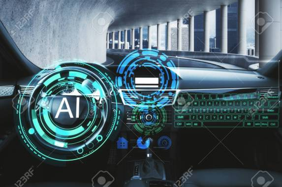 Abstract Car Interior With Glowing AI Interface. Artificial Intelligence.. Stock Photo, Picture And Royalty Free Image. Image 115434623.