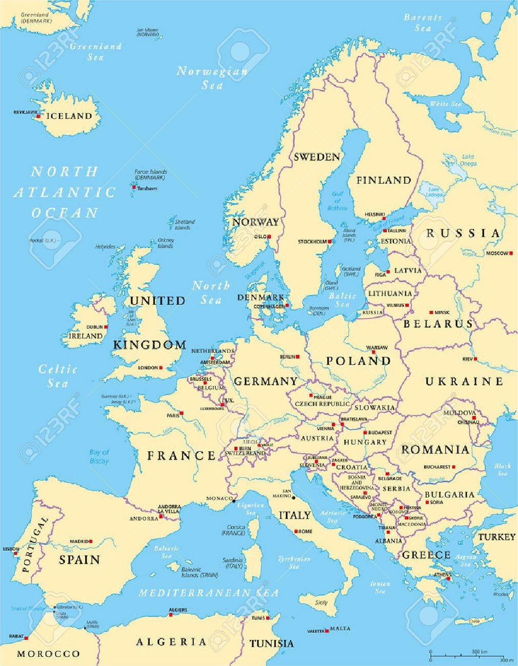 politische landkarte von europa und der umliegenden region mit lander hauptstadte landesgrenzen grosse flusse und seen englisch kennzeichnung und