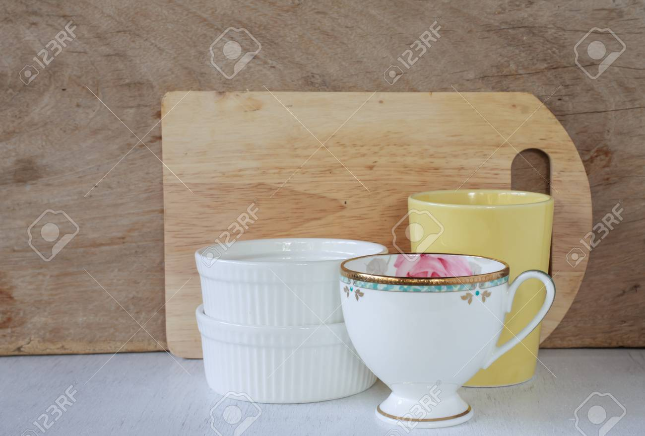 Vintage Kitchenware On Wooden Background Cozy Home Rustic Decor