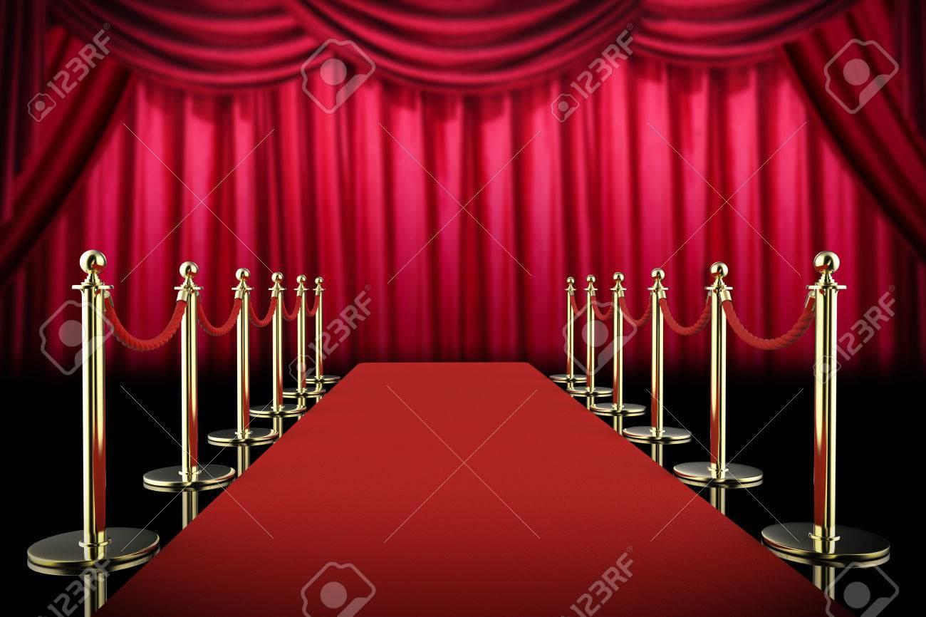 3d rendering tapis rouge et corde barriere avec rideau rouge fond