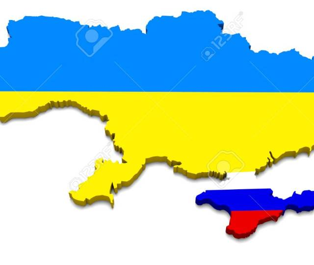 Map Ukraine Country Russia Crimea Isolated Blue Yellow