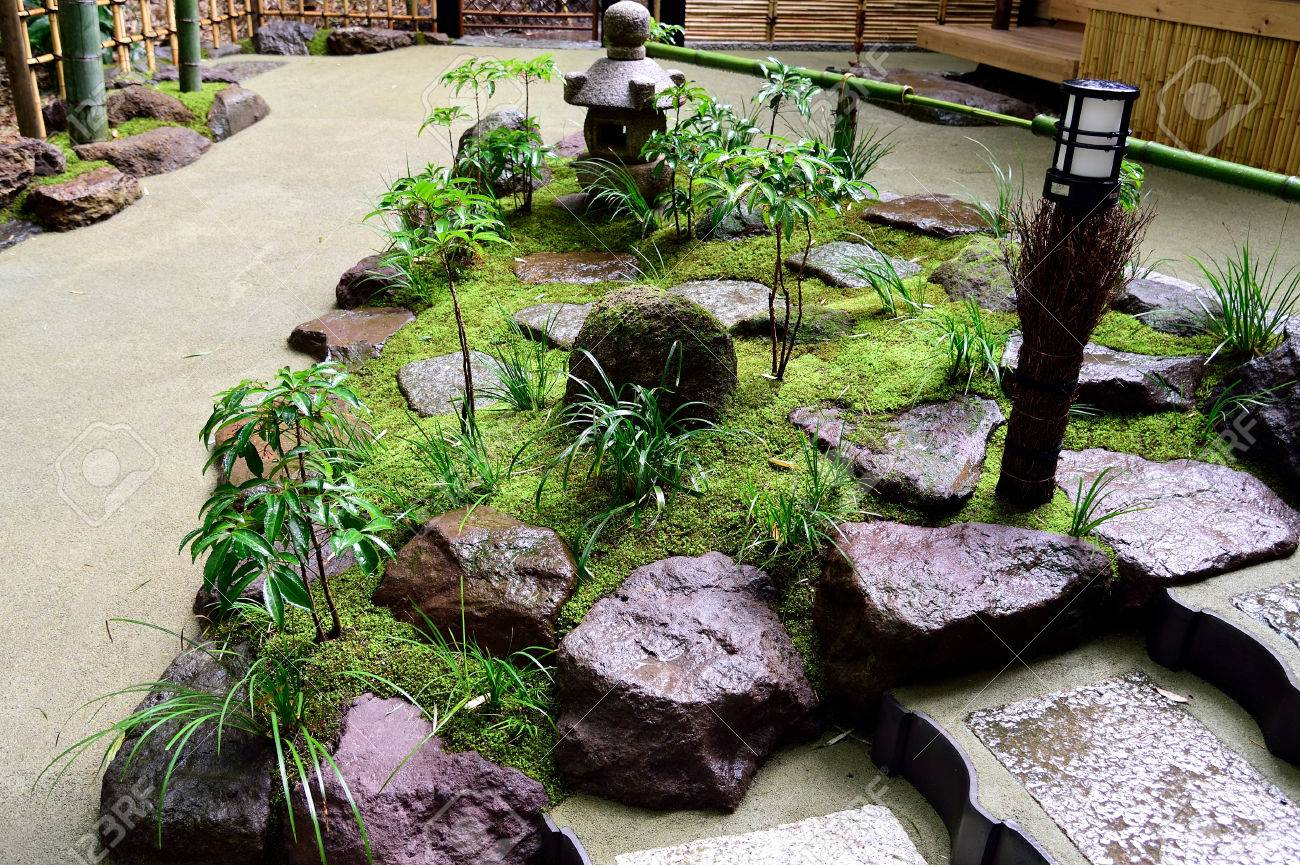 Small Japanese Garden Composed Of Various Elements Such As Stones Stock Photo Picture And Royalty Free Image Image 62261683