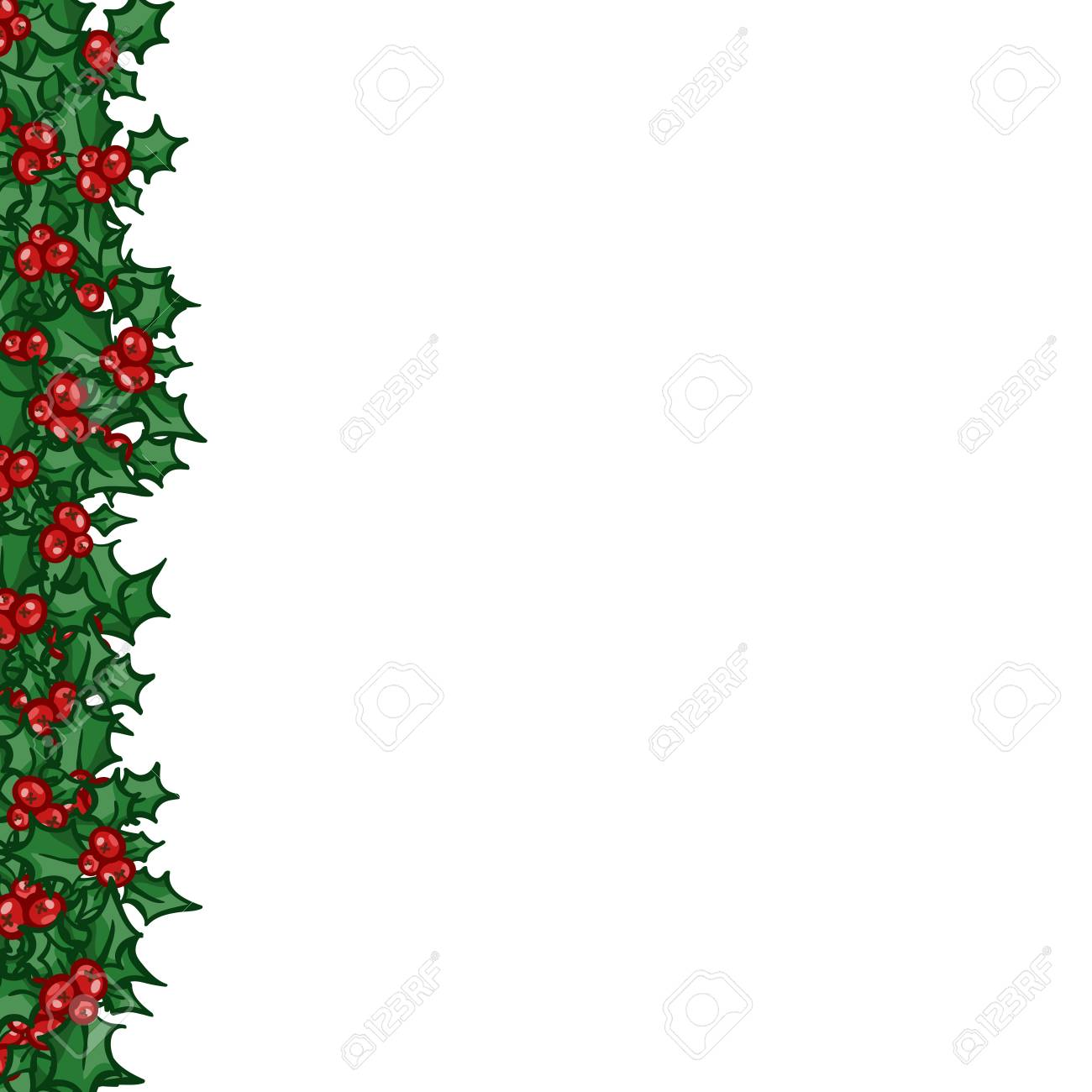 Holly With Berry Left Side Border Vector Christmas And New Year Royalty Free Cliparts Vectors And Stock Illustration Image 68609554
