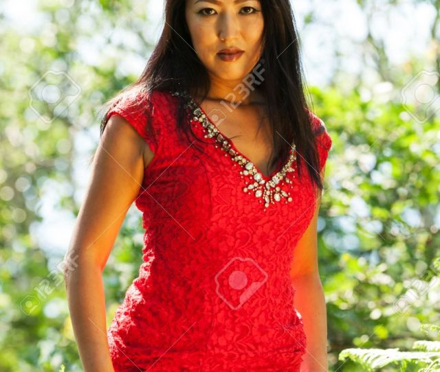 Mature Asian Woman With Red Dress Stock Photo 59668470