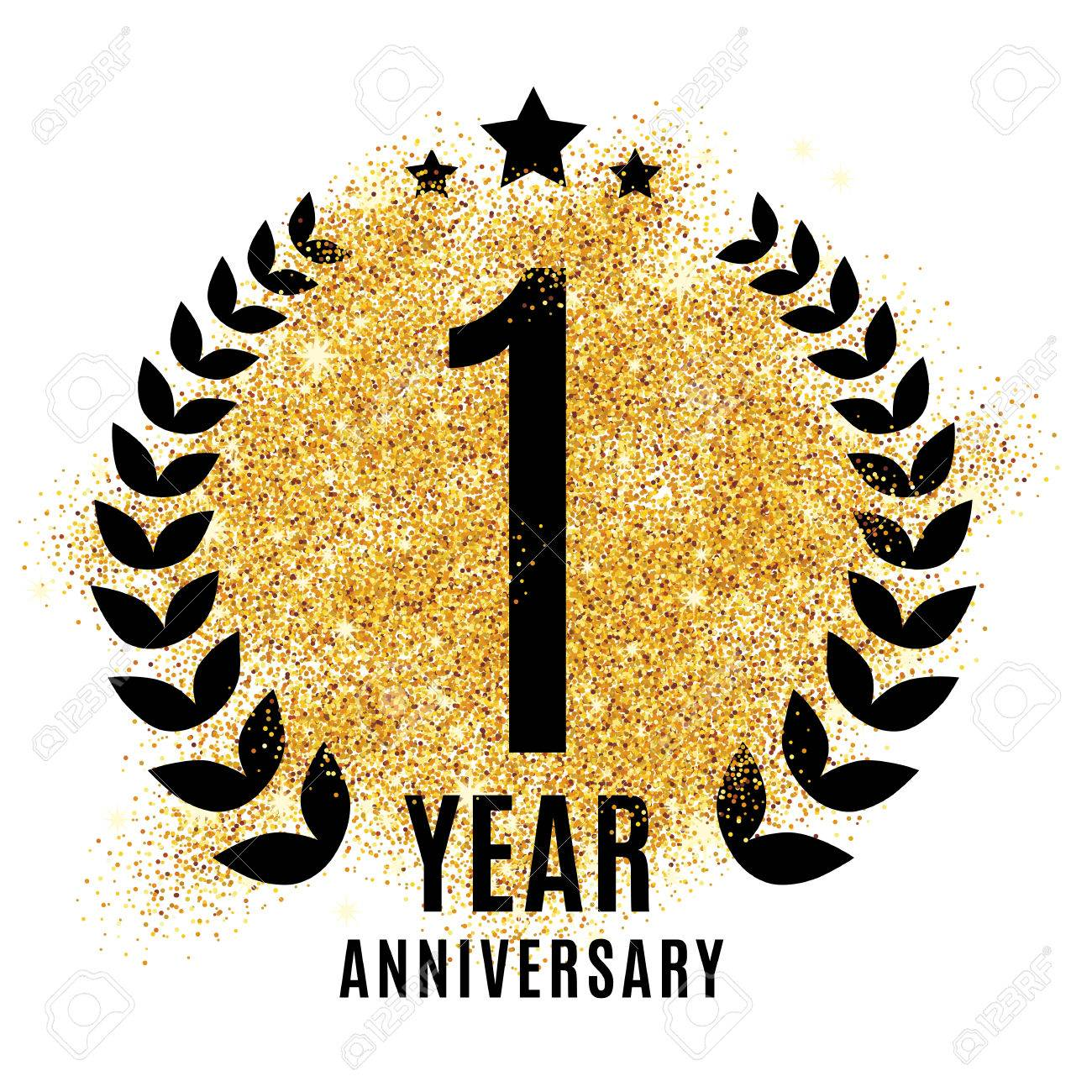 One Year Golden Anniversary Sign Gold Glitter Celebration Light Stock Photo Picture And Royalty Free Image Image 67585541