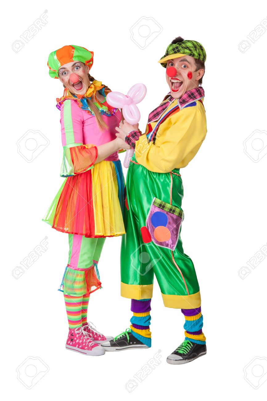 Couple Of Happy Clowns Isolated On White Stock Photo Picture And Royalty Free Image Image 17276396