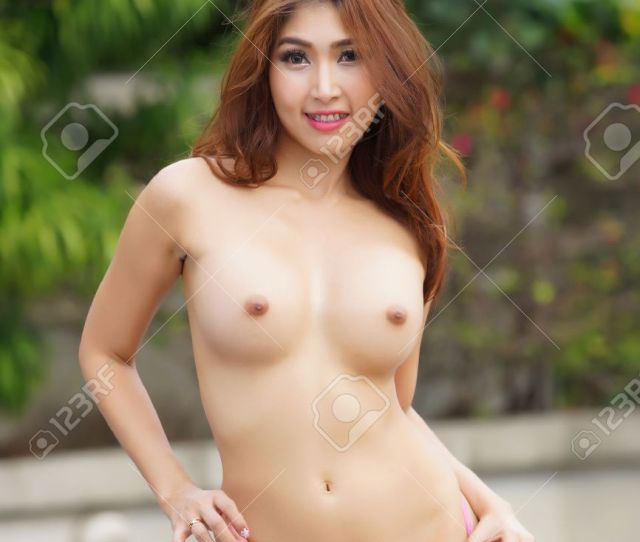 Beautiful Sexy Asian Girl Posing Topless Outdoors Stock Photo 24113203
