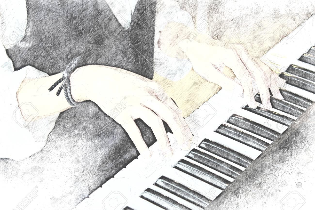 abstrait une femme jouant du piano sur fond de peinture a l aquarelle