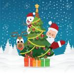 Merry Christmas Greeting Card With Christmas Santa Claus Snowman Royalty Free Cliparts Vectors And Stock Illustration Image 91296505