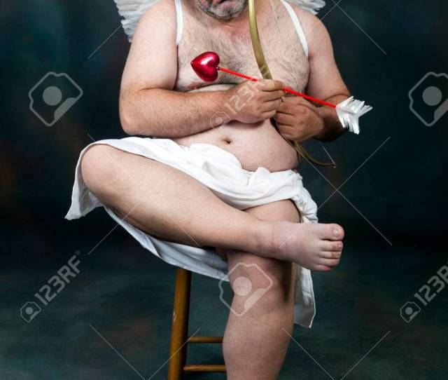 Fat Bearded Mature Hairy Cupid With Bow And Heart Arrow Stock Photo 35457064