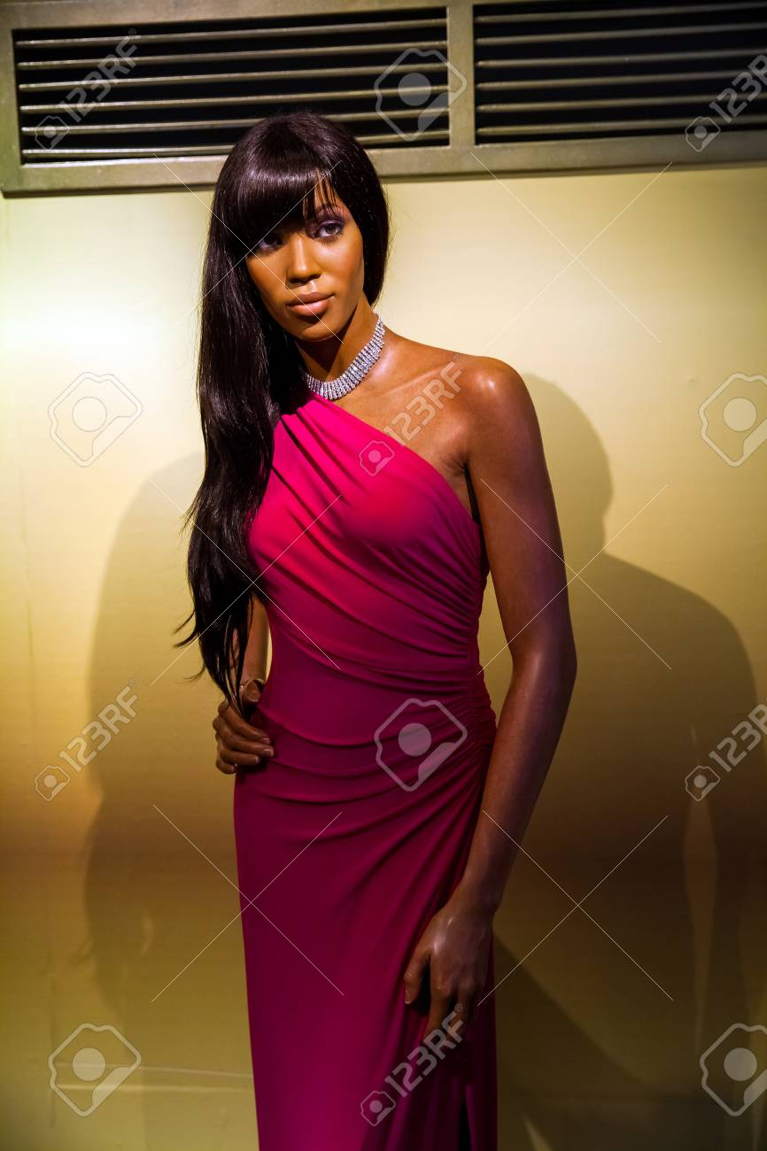 wax figure of model naomi campbell in madame tussauds wax museum