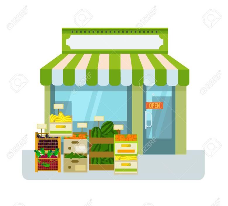 Fruit And Vegetables Shop. Vector Flat Cartoon Illustration ...