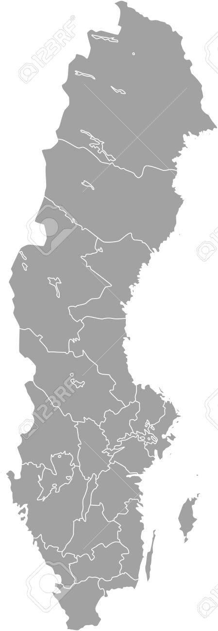 Sweden Map Outline Vector With Borders Of Provinces Or States     Sweden map outline vector with borders of provinces or states Stock Vector    51018461