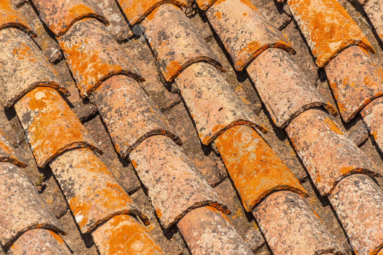 traditional old spanish ceramic roof tiles on a building characteristic