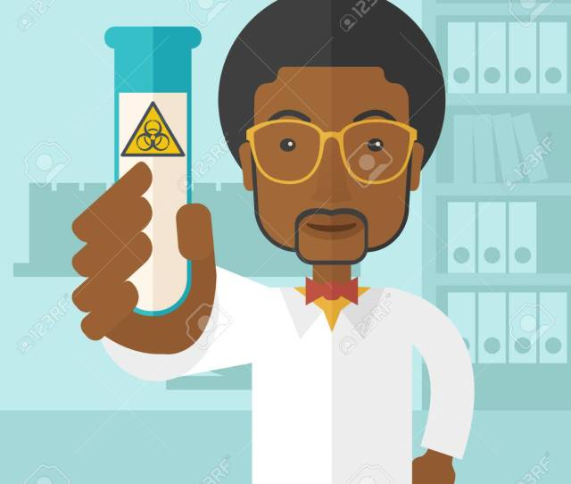 A Young African American Scientists Experimenting With Glass Tube Inside The Laboratory A Contemporary