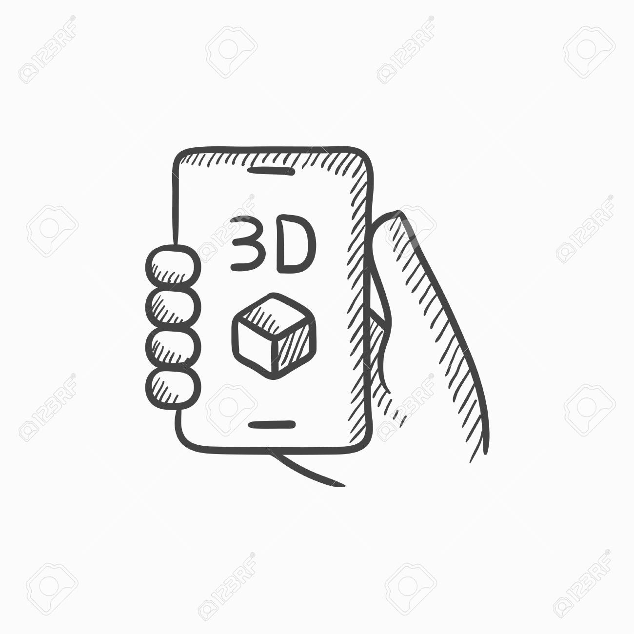 Smartphone with three d box vector sketch icon isolated on 61150291 smartphone with three d box vector sketch icon isolated on background hand drawn