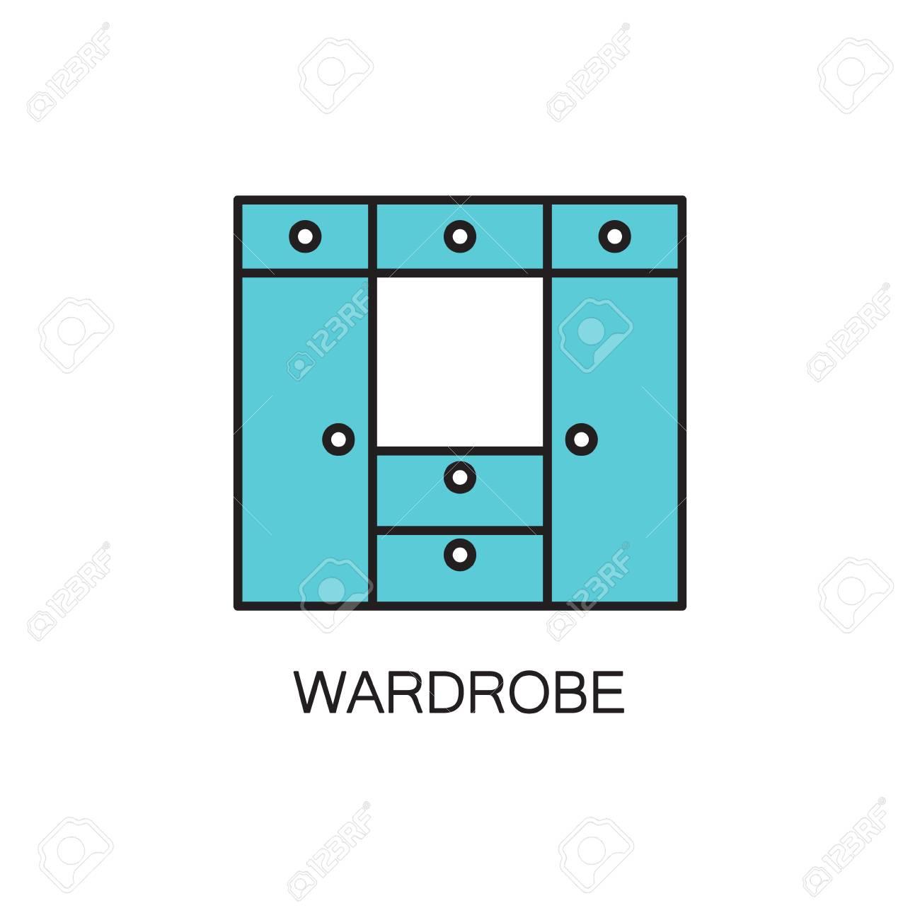 armoire icone de la ligne pictogramme de haute qualite de la garde robe pour