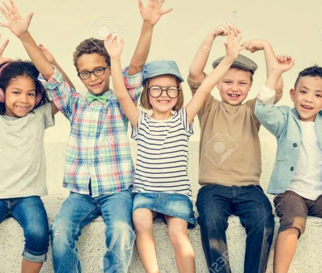 Casual Children Cheerful Cute Friends Kids Joy Concept Stock Photo 65796725